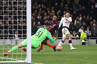 Tottenham Hotspur's Son Heung-Min sees his shot saved by Manchester City's Ederson<br /> <br /> Photographer Rob Newell/CameraSport<br /> <br /> UEFA Champions League Quarter-finals 1st Leg - Tottenham Hotspur v Manchester City - Tuesday 9th April 2019 - White Hart Lane - London<br />  <br /> World Copyright © 2018 CameraSport. All rights reserved. 43 Linden Ave. Countesthorpe. Leicester. England. LE8 5PG - Tel: +44 (0) 116 277 4147 - admin@camerasport.com - www.camerasport.com
