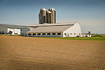 Huron County, OH. White Barn with silos.