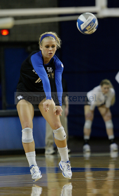 Senior Stephanie Klefot (11) bumps the ball during the UK women's volleyball game v. Ohio University during the second round of the NCAA tournament in Memorial Coliseum in Lexington, Ky., on Saturday, December 1, 2012. Photo by Genevieve Adams | Staff