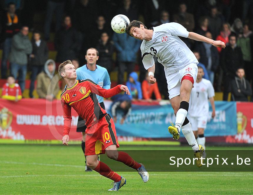 Georgia U19 - Belgium U19 : duel between Lasha Dvali (3) and Rob Schoofs (10)<br /> foto DAVID CATRY / Nikonpro.be