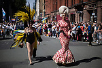 © Joel Goodman - 07973 332324 - all rights reserved . 24/08/2019. Manchester, UK. Mars Attacks costume . The 2019 Manchester Gay Pride parade through the city centre , with a Space and Science Fiction theme . Manchester's Gay Pride festival , which is the largest of its type in Europe , celebrates LGBTQ+ life . Photo credit: Joel Goodman/LNP
