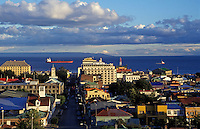 View of PUNTA ARENAS and the STRAIT OF MAGELLAN - PATAGONIA, CHILE