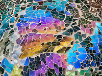 Close up of mosaic glass gazing ball garden feature.  Oregon