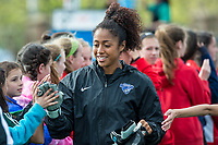 Boston, MA - Sunday May 07, 2017: Abby Smith and fans prior to a regular season National Women's Soccer League (NWSL) match between the Boston Breakers and the North Carolina Courage at Jordan Field.