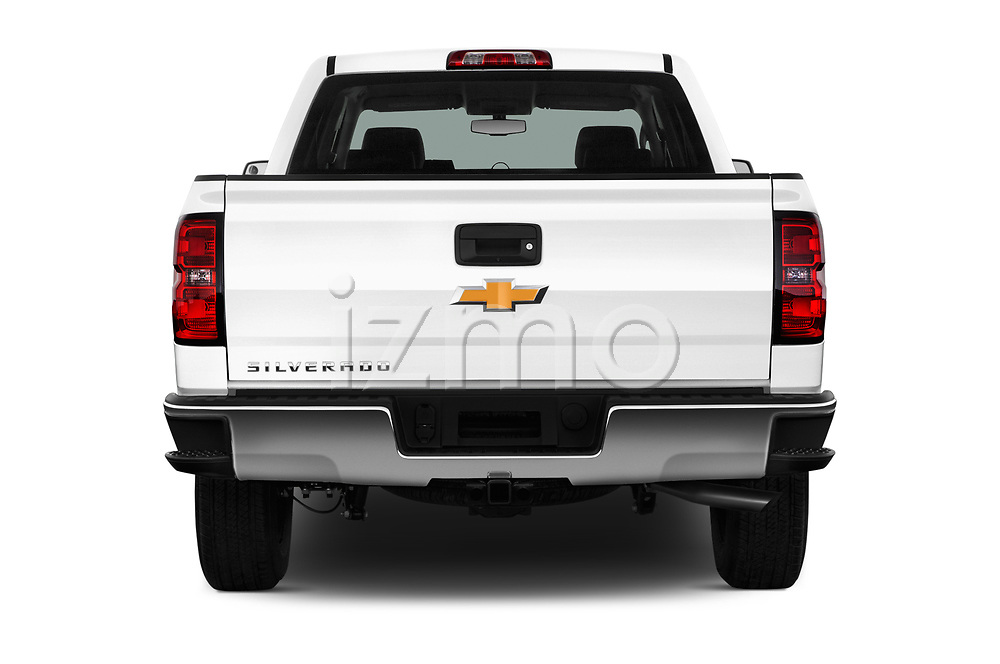 Straight rear view of 2018 Chevrolet Silverado-1500 1LS-Crew-Cab-Short-Box 4 Door Pickup Rear View  stock images