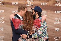 "LOS ANGELES, CA - APRIL 3: Cast members Chris Geere, Aya Cash, Kether Donohue and Desmin Borges attend the FYC Red Carpet event for the series finale of FX's ""You're the Worst"" at Regal Cinemas L.A. Live on April 3, 2019 in Los Angeles, California. (Photo by Frank Micelotta/FX/PictureGroup)"