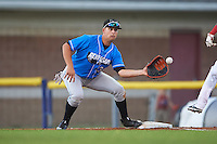 Hudson Valley Renegades first baseman Nathaniel Lowe (36) waits for a throw during a game against the Batavia Muckdogs on August 2, 2016 at Dwyer Stadium in Batavia, New York.  Batavia defeated Hudson Valley 2-1.  (Mike Janes/Four Seam Images)