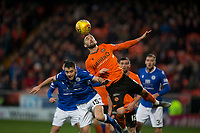 16th November 2019; Tannadice Park, Dundee, Scotland; Scottish Championship Football, Dundee United versus Queen of the South; Nicky Clark of Dundee United competes in the air with Darren Lyon of Queen of the South  - Editorial Use