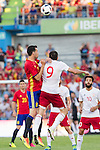 Spain's Sergio Busquets and Georgia's Dvalishvili during the up match between Spain and Georgia before the Uefa Euro 2016.  Jun 07,2016. (ALTERPHOTOS/Rodrigo Jimenez)