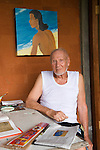 Arie Smit, Ubud, Bali. Indonesia. Smit  is a Dutch-born Indonesian painter living on Bali. Smit received the Dharma Kusuma (Society of National Heroes) award in 1992 from the government of Bali. The Arie Smit Pavilion was opened at the Neka Art Museum in 1994 to display his works and those of contemporary Balinese artists.