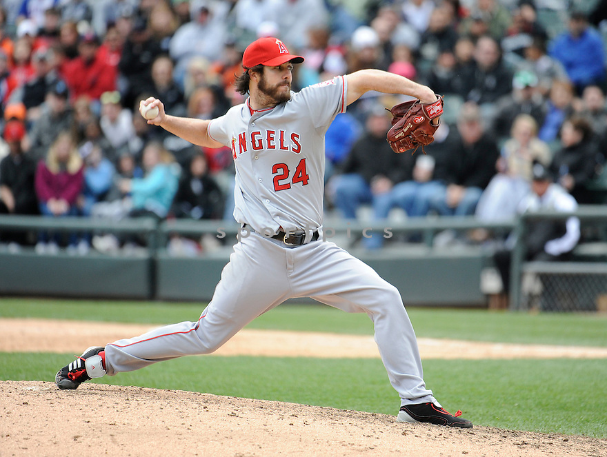 DAN HAREN, of the Los Angeles Angels, in action during the Angels game against the Chicago White Sox, on April 17, 2011 at US Cellular Field in Chicago, Illinois.  The Angels beat the Sox 4-2.