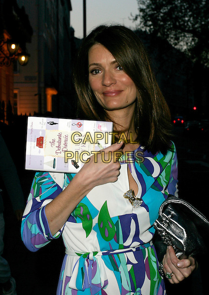 PLUM SYKES.Plum Sykes Book Launch Party at Annabel's, Berkeley Square, London, UK..May 10th, 2006.Ref: AHc.half length blue white green pattern pucci silver bag.www.capitalpictures.com.sales@capitalpictures.com.© Capital Pictures.