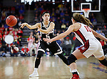 SIOUX FALLS, SD: MARCH 5: Amber Vidal #5 of Omaha passes around South Dakota defender Allison Arens #10 during the Summit League Basketball Championship on March 5, 2017 at the Denny Sanford Premier Center in Sioux Falls, SD. (Photo by Dick Carlson/Inertia)