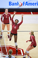 STANFORD, CA - September 9, 2018: Tami Alade, Jenna Gray, Kate Formico at Maples Pavilion. The Stanford Cardinal defeated #1 ranked Minnesota 3-1 in the Big Ten / PAC-12 Challenge.