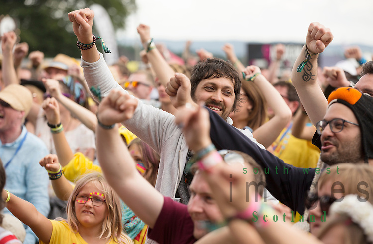 Electric Fields music festival at Drumlanrig Castle, Dumfries and Gallloway Scotland. crowd fans saluting
