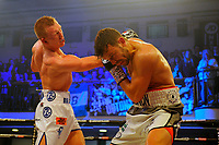 Ted Cheeseman (white/blue shorts) defeats Paul Upton during a Boxing Show at York Hall on 6th June 2018