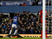 2nd December 2017, Goodison Park, Liverpool, England; EPL Premier League football, Everton versus Huddersfield Town; Dominic Calvert-Lewin of Everton celebrates his goal which made it 2-0