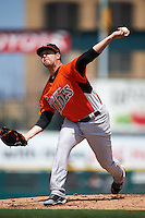 Norfolk Tides pitcher Chris Jones (43) delivers a pitch during a game against the Rochester Red Wings on May 3, 2015 at Frontier Field in Rochester, New York.  Rochester defeated Norfolk 7-3.  (Mike Janes/Four Seam Images)
