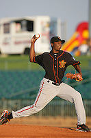 August 16 2009: Kennil Gomez of the Bakersfield Blaze during game against the Lancaster JetHawks at Clear Channel Stadium in Lancaster,CA.  Photo by Larry Goren/Four Seam Images