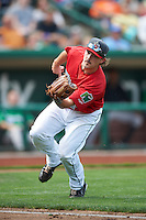 Fort Wayne TinCaps third baseman Tyler Stubblefield #14 catches a pop up during a Midwest League game against the Dayton Dragons at Parkview Field on August 19, 2012 in Fort Wayne, Indiana.  Dayton defeated Fort Wayne 5-1.  (Mike Janes/Four Seam Images)