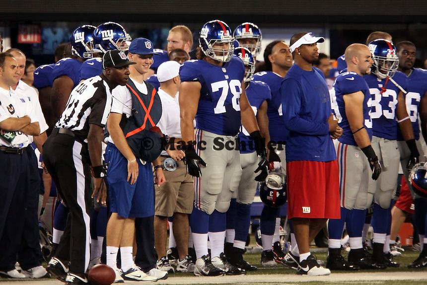 DT Markus Kuhn (Giants, D) an der Seitenlinie