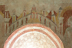 Medieval frescoes church of Saint Mary, Kempley, Gloucestershire, England, UK -  palace towers heaven