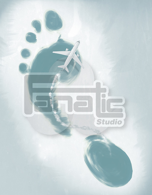 Illustrative image of air plane flying over footprint representing global travel