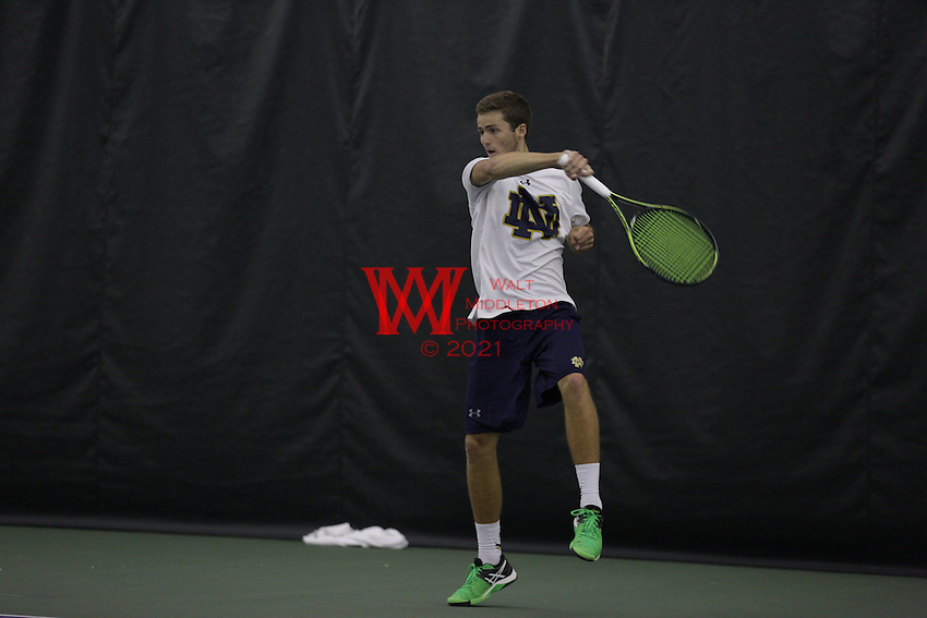 The University of Notre Dame men's tennis team compete in the 1st round of the 2016 NCAA Tournament at Northwestern University, May 14, 2016.