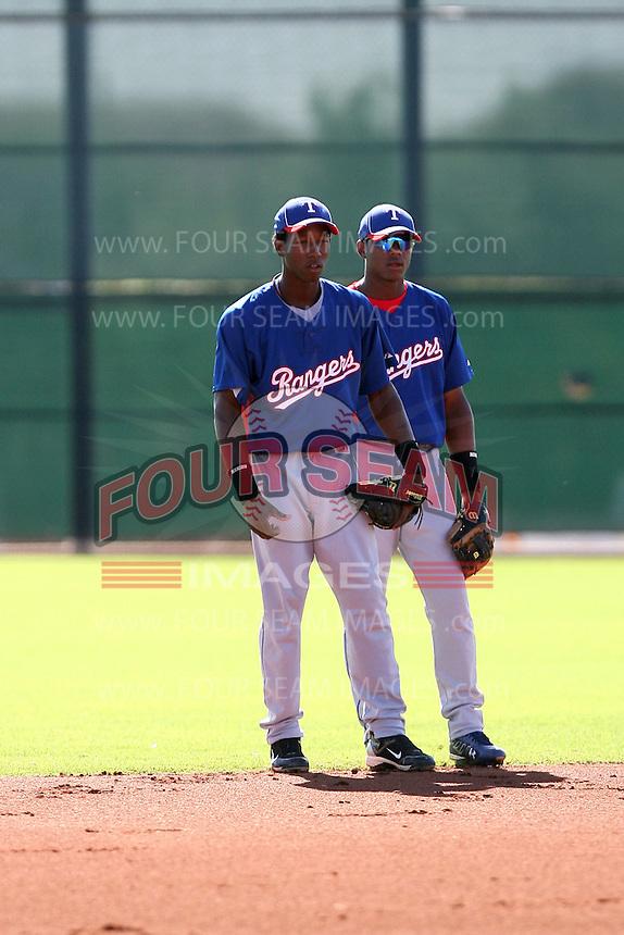 Jurickson Profar (L), Hanser Alberto (R) - Texas Rangers - 2010 Instructional League.Photo by:  Bill Mitchell/Four Seam Images..