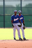 Jurickson Profar (L), Hanser Alberto (R) - Texas Rangers - 2010 Instructional League.Photo by:  Bill Mitchell/Four Seam Images..