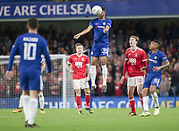 Jake Clarke-Salter of Chelsea heads the ball clear, Carabao Cup, Third Round, Chelsea v Nottingham Forrest, Stamford Bridge, London, United Kingdom, 20th  September 2017