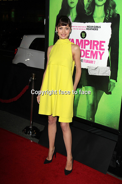 LOS ANGELES, CA - February 04: Olga Kurylenko at the &quot;Vampire Academy&quot; Los Angeles Premiere, Regal Cinemas, Los Angeles, February 04, 2014. Credit: Janice Ogata/MediaPunch Inc.<br />