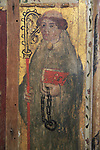 Saint Leonard of Noblat, medieval rood screen paintings, St Andrew church, Westhall, Suffolk, England, UK