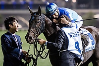 DUBAI, UNITED ARAB EMIRATES - MARCH 25: Vivlos #9 ridden by Joao Moreira (blue hat), hugs his trainer after winning the Dubai Turf at Meydan Racecourse during Dubai World Cup Day on March 25, 2017 in Dubai, United Arab Emirates. (Photo by Douglas DeFelice/Eclipse Sportswire/Getty Images)