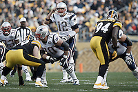 PITTSBURGH, PA - OCTOBER 30:  Tom Brady #12 of the New England Patriots calls out signals to his teammates behind center against the Pittsburgh Steelers defense during the game on October 30, 2011 at Heinz Field in Pittsburgh, Pennsylvania.  (Photo by Jared Wickerham/Getty Images)