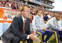 Head coach of Real Salt Lake Jason Kreis waits for the start of a game against D.C. United during the first half of the U.S. Open Cup Final on October  1, 2013 at Rio Tinto Stadium in Sandy, Utah.