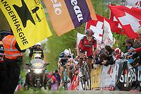 Greg Van Avermaet (BEL/BMC) with Stijn Vandenbergh (BEL/OPQS) in his wheel up the Paterberg for the final climb of the day<br /> <br /> Ronde van Vlaanderen 2014