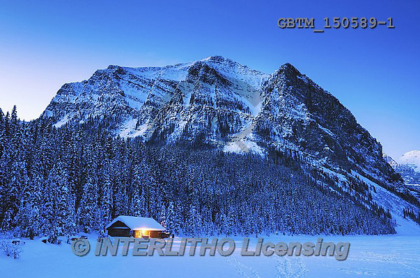 Tom Mackie, CHRISTMAS LANDSCAPES, WEIHNACHTEN WINTERLANDSCHAFTEN, NAVIDAD PAISAJES DE INVIERNO, photos,+Alberta, Banff National Park, Canada, Canadian, Canadian Rockies, Fairview Mountain, Lake Louise, North America, Tom Mackie,+USA, Victoria Glacier, atmosphere, atmospheric, blue, building, buildings, cabin, chalet, cold, dawn, freezing, frozen, horiz+ontal, horizontals, lake, landscape, light, mood, moody, morning, mountain, mountainous, mountains, national park, nature, pi+ne tree, pine trees, scenic, season, snow, time of day, tranquil, tranquility, travel, twil,Alberta, Banff National Park, Can+,GBTM150589-1,#xl#