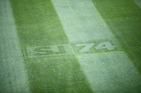 San Jose, CA - Saturday, March 04, 2017: Logo on the grass prior to a Major League Soccer (MLS) match between the San Jose Earthquakes and the Montreal Impact at Avaya Stadium.