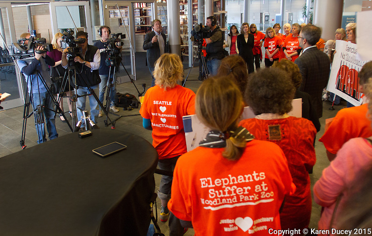 A press conference was held at the Seattle City Hall by the Elephant Justice Project announcing a new lawsuit filed against the Woodland Park Zoo.   (photo © Karen Ducey Photography)