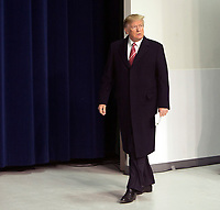 United States President Donald J. Trump arrives to speak to the media at Camp David, the presidential retreat near Thurmont, Maryland after holding meetings with staff, members of his Cabinet and Republican members of Congress to discuss the Republican legislative agenda for 2018 on January 6, 2018.<br /> CAP/MPI/RS<br /> &copy;RS/MPI/Capital Pictures