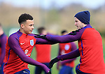 England's Dele Alli and Eric Dier during training at the Tottenham Hotspur Training Centre.  Photo credit should read: David Klein/Sportimage
