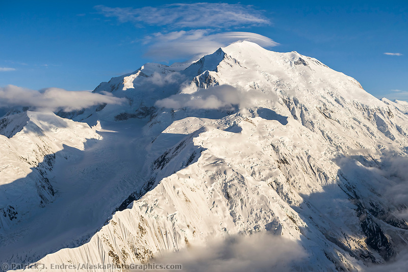 Aerial view of Denali, view looking west along Pioneer ridge and the North summit in view. High wind Lenticular clouds over the North summit.