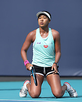 MIAMI GARDENS, FL - MARCH 18: Naomi Osaka on the practice court prior to the start of the Miami Open Tennis Tournament at Hard Rock Stadium on March 18, 2019 in Miami Gardens, Florida.<br /> <br /> People: Naomi Osaka