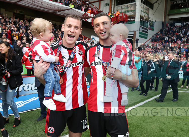 Sheffield United's Paul Coutts and James Wilson celebrate during the League One match at Bramall Lane, Sheffield. Picture date: April 30th, 2017. Pic David Klein/Sportimage