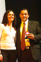 Leonardo Montes, of Bodega Toscanini Hnos, winemaker, collecting the Uruguay Cata d'Or prize medal Catad'Or of Uruguay, Montevideo, Uruguay, South America