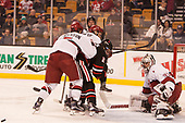 Clay Anderson (Harvard - 5), Mike Jamieson (NU - 24), Jake Horton (Harvard - 19), Merrick Madsen (Harvard - 31) - The Harvard University Crimson defeated the Northeastern University Huskies 4-3 in the opening game of the 2017 Beanpot on Monday, February 6, 2017, at TD Garden in Boston, Massachusetts.