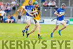 David Egan of Abbeydorney in action against St Brendans Darren Dineen, in R2 of the Senior Hurling Championship in Austin Stack Park on Sunday.