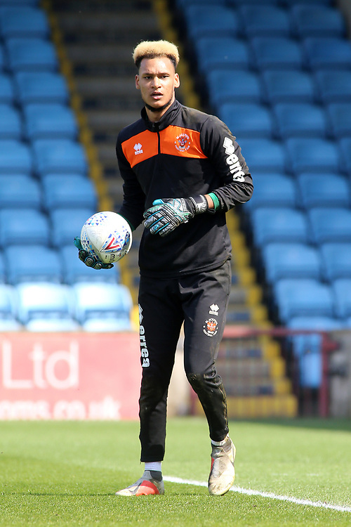 Blackpool's Myles Boney during the pre-match warm-up <br /> <br /> Photographer David Shipman/CameraSport<br /> <br /> The EFL Sky Bet League One - Scunthorpe United v Blackpool - Friday 19th April 2019 - Glanford Park - Scunthorpe<br /> <br /> World Copyright © 2019 CameraSport. All rights reserved. 43 Linden Ave. Countesthorpe. Leicester. England. LE8 5PG - Tel: +44 (0) 116 277 4147 - admin@camerasport.com - www.camerasport.com