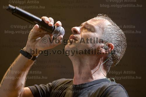 Italian singer Eros Ramazotti performs in Papp Laszlo Sports Arena during his concert tour.